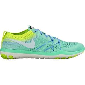 Nike focus flyknit teal green yellow lace up shoes
